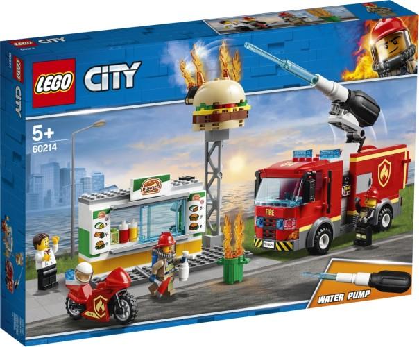 Brand bij het hamburger restaurant Lego (60214)