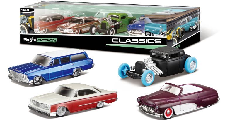 SET MAISTO DESIGN 4 PACK CLASSICS (1:64)