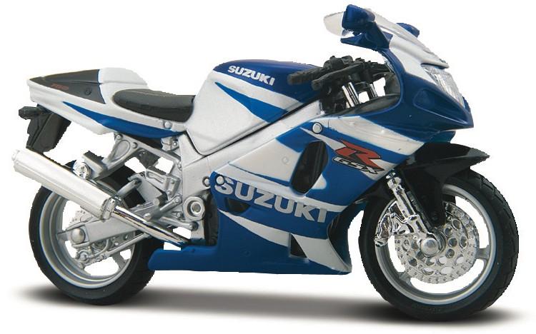 SUZUKI GSX-R750 (1:18) MAISTO BLAUW/WIT