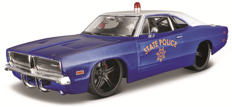 DODGE CHARGER R-T STATE POLICE 1969 MET-BLAUW(1:24) MAISTO