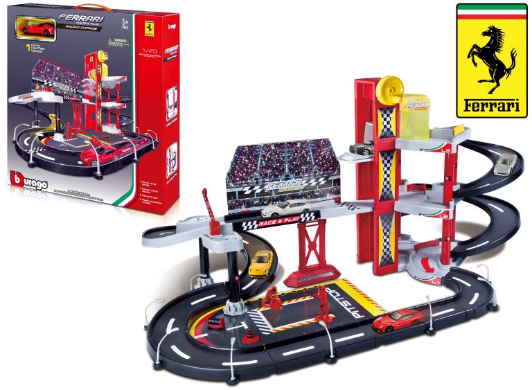BBURAGO RACE & PLAY THREE-LEVEL RACING GARAGE + 1 FERRARI F12