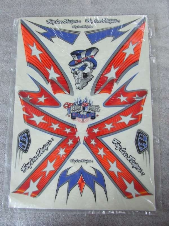 Stickerset Troy Lee Design Rebel Flag blauw