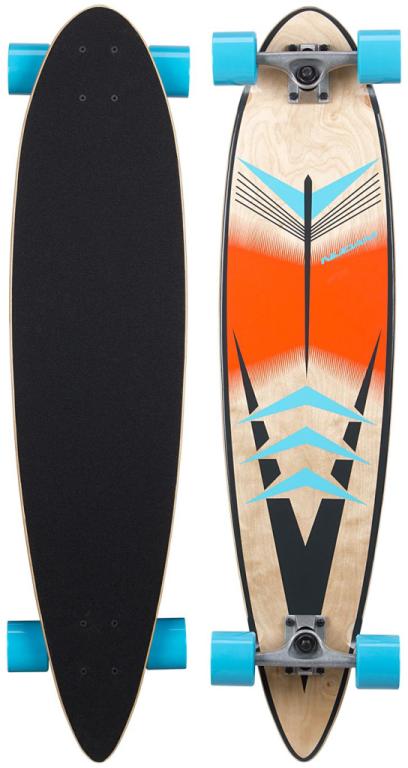 Longboard 39INCH Pintail Street Waves Blauw/Oranje/Antraciet (BOA)