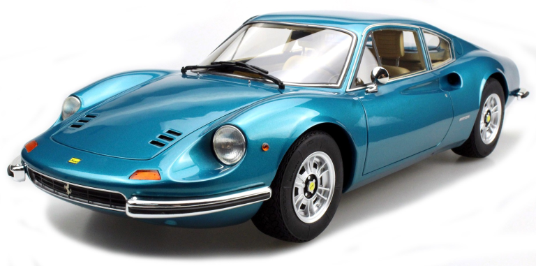 Ferrari DINO 246 GT (BLAUW METALIC) (1:12)