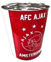 Prullenbak Ajax wit/rood/wit