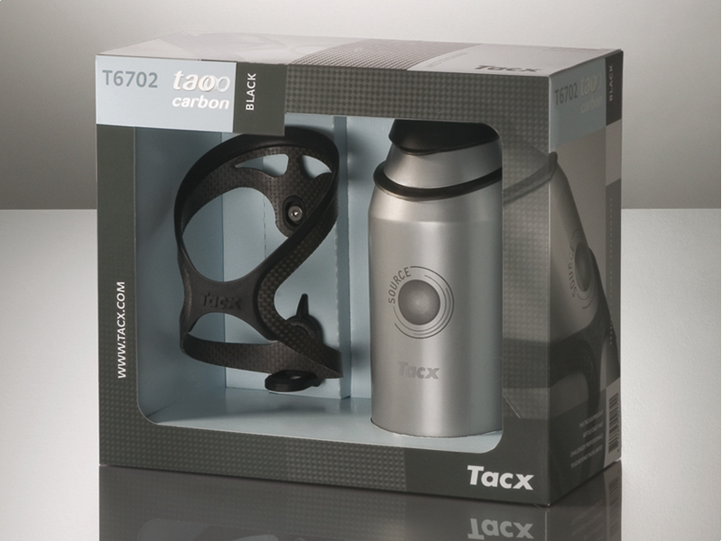BIDONHOUDER TACX TAO CARBON + BIDON TACX SOURCE ZILV T6702