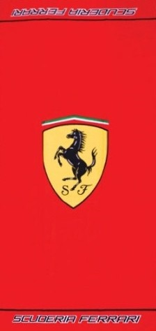 Badlaken Ferrari Logo Rood 75 x 150