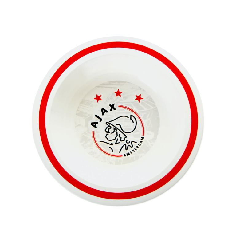 Kom Plastic Ajax wit-rood logo