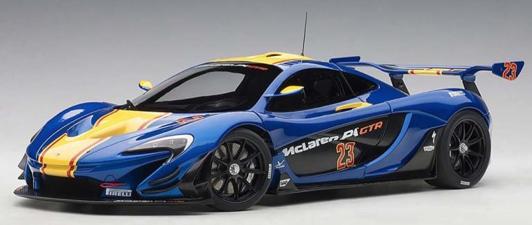 MCLAREN P1 GTR 2015 (BLAUW/GEEL) AUTOART (1:18)