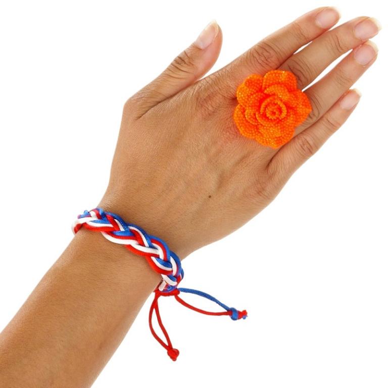Armbandje Vlecht RWB Holland Oranje
