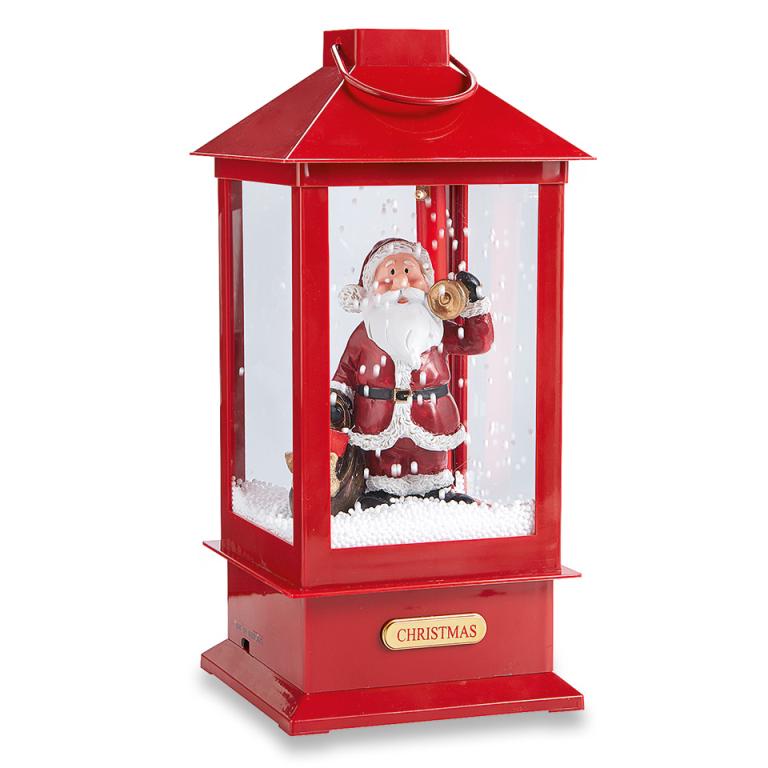 Kerstman in lantaarn met muziek licht en sneeuw 19 cm hoog