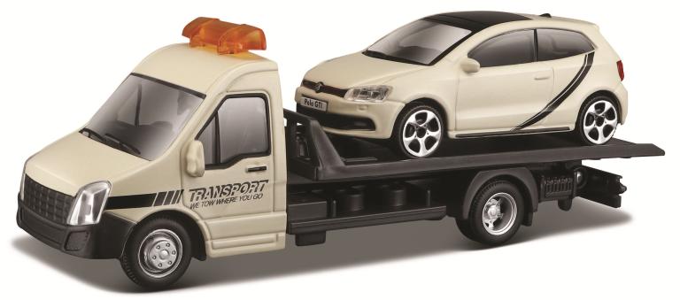 VW POLO GTI MARK 5 + FLATBED TRANSPORTER (1:43)