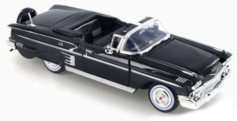 Chevrolet IMPALA CABRIOLET 1958 Zwart MOTORMAX (1:24)