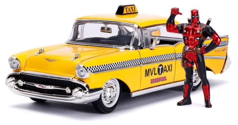 Chevrolet BEL AIR 1957 DEADPOOL TAXI + FIGUUR(1:24) JADA