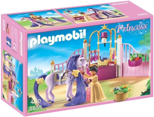 Koninklijke stal met paard om te kammen Playmobil (6855)