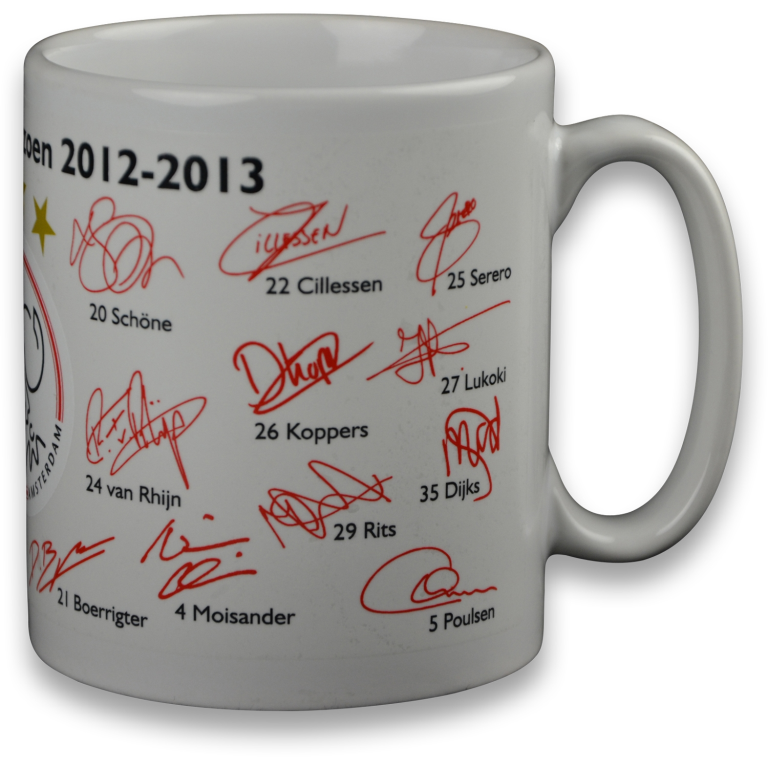 Ajax Mok Wit Handtekeningen 2012