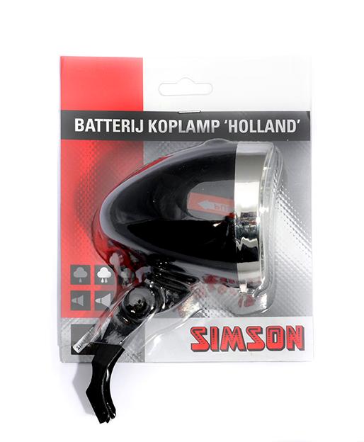 Simson koplamp Holland batt aan/uit zwart