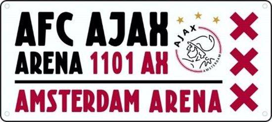 Nummerplaat Ajax wit-rood-wit Arena (NUMM011605)