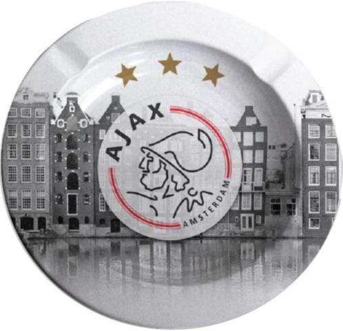 Asbak Ajax grachten en logo grijs 11x11 cm