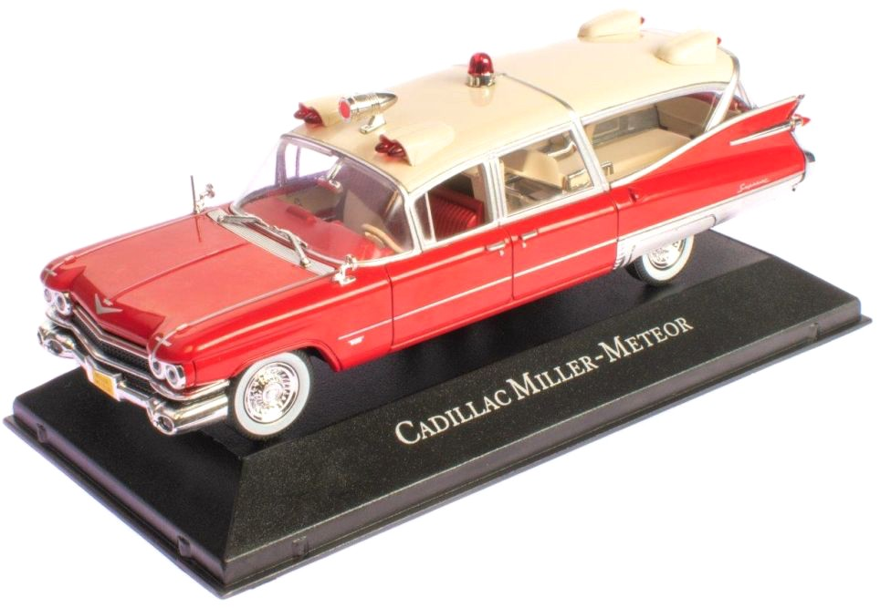 Cadillac SUPERIOR MILLER METEOR AMBULANCE (ROOD/CREME) (1:43) ATLAS
