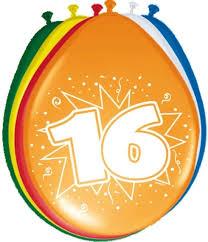 Ballonnen 16 jaar 8 Stuks