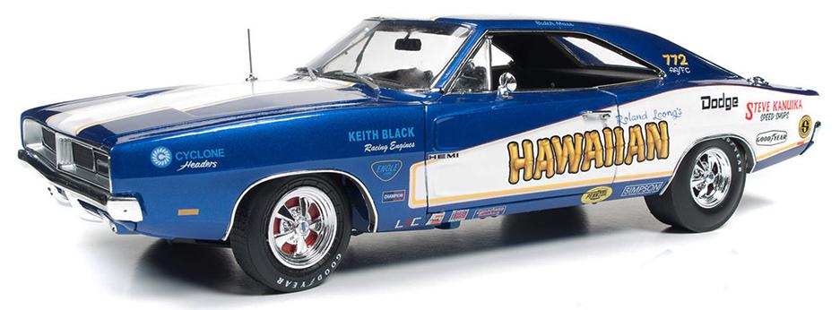 DODGE CHARGER HAWAIIAN FUNNY CAR 1969 KEITH BLACK (1:18)