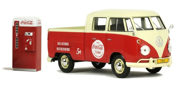 Cola-Cola Collection VW T1 TYPE 2 PICK UP 1963 + VENDING MACHINE ACCESSORY (1:24)