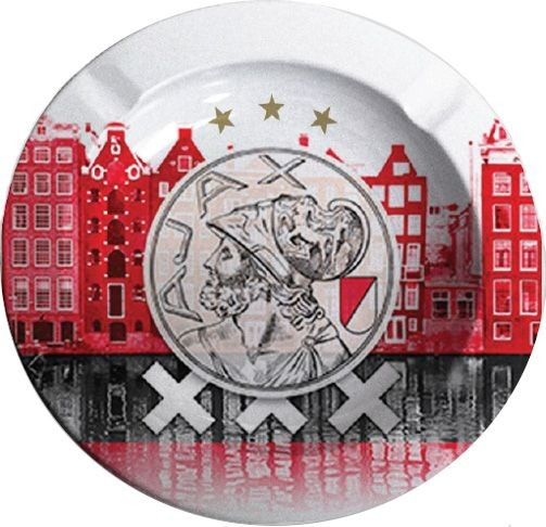 Asbak Ajax Grachten en logo rood 11x11 cm