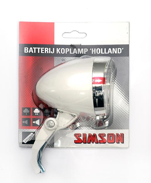 Simson koplamp Holland batt aan/uit wit